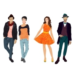 Handsome young guys with beautiful girls in vector image