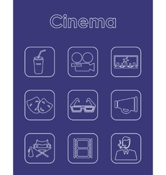 Set of cinema simple icons vector