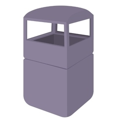 Grey empty steel bin icon cartoon style vector