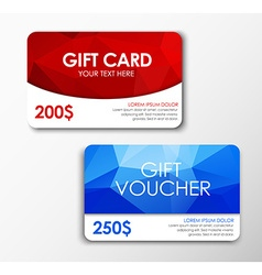 Polygonal gift card and voucher vector
