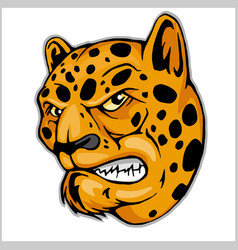 Angry leopard mascot vector
