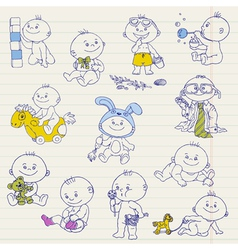 Baby Boy Doodle Set vector image