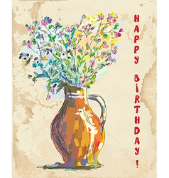 Birthday card with flowers and vase retro vector image vector image