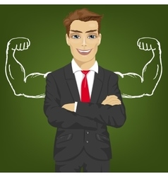 Businessman with chalk healthy strong arm muscles vector