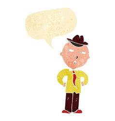 cartoon man wearing hat with speech bubble vector image vector image
