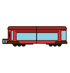 Cartoon red train wagon rail vector