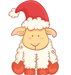 Cartoon sheep wearing santa hat vector image