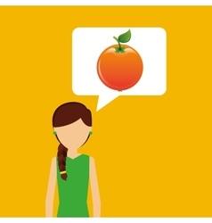 Character shopper orange fruit vector