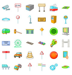 City gps icons set cartoon style vector