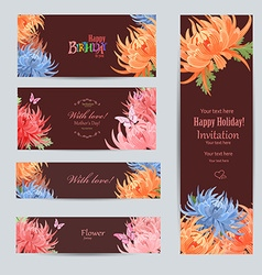 collection of greeting cards with a chrysanthemum vector image vector image