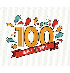 Color happy birthday number 100 flat line design vector image