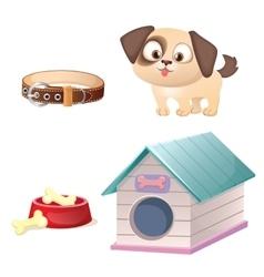 Cute dog care set vector