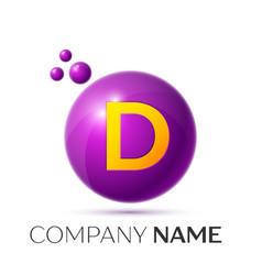 D letter splash purple dots and circle bubble vector