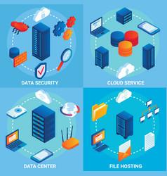 Data center concept isometric poster set vector
