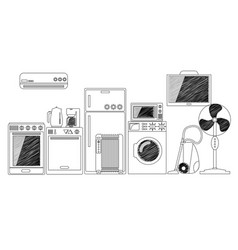 Electric house appliances monochrome outlined vector