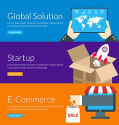 Flat design concept for global solution startup vector