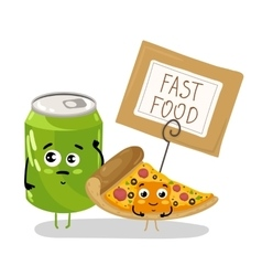 Funny pizza slice and soda can cartoon character vector