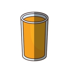 Glass cup juice drink shadow vector