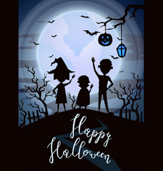 Happy halloween party banner with kids silhouettes vector