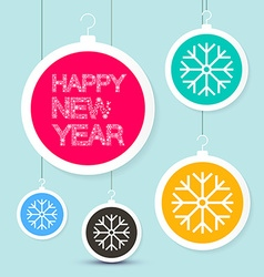 Happy New Year Title - Snowflakes Slogan on vector image vector image