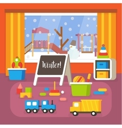 Kindergarten classroom at winter preschool room vector
