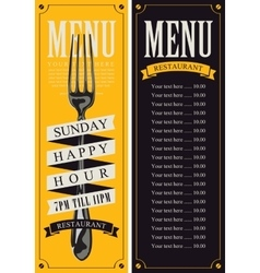 menu with fork for the restaurant vector image vector image