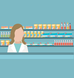 Modern flat of a female pharmacist at the counter vector