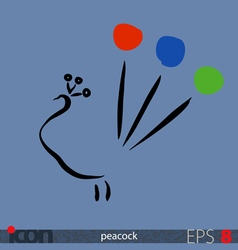 Peacock icon vector