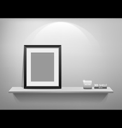 Photo frame on white shelf vector