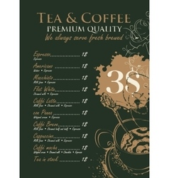 Price menu for coffee vector