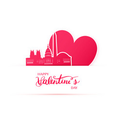 Red heart and silhouette of washington city paper vector