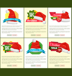 Set of christmas sale ads vector