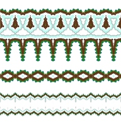 Set of exquisite filigree borders or brush vector