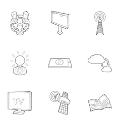 Stream icons set outline style vector