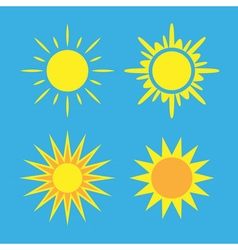 Sun icons set blue collection vector
