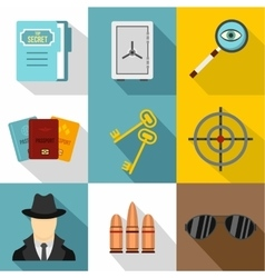 Surveillance icons set flat style vector