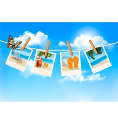Vacation photos hanging on a rope vector