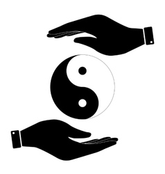 Yin and yang in hand icon vector
