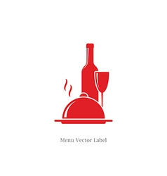 Wine bottle with wineglass and food dish vector