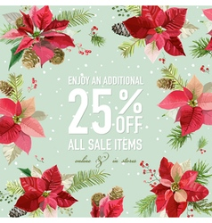 Christmas sale poster - with winter poinsettia vector