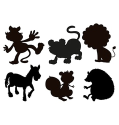 Animals in black colored images vector