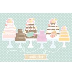 Invitation design with decorative cakes vector image