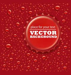red water drops background with bottle cap vector image