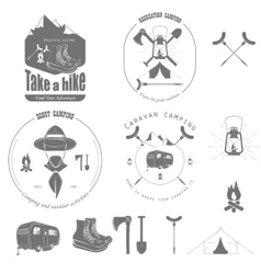 Outdoor recreation badge set vector