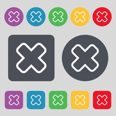 Cancel icon sign a set of 12 colored buttons flat vector