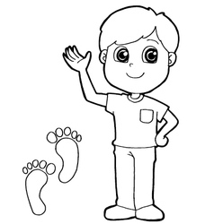 Kid with paw print coloring page vector