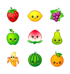 Kawaii fruits vector
