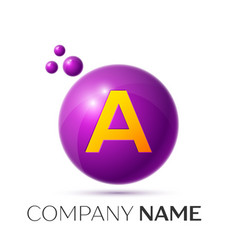 A letter splash purple dots and circle bubble vector