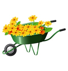 A pushcart full of flowers vector image vector image