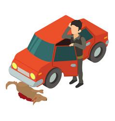 accident scene icon isometric 3d style vector image